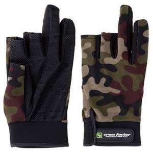 Cross factor WPC 738 camoufla stretch glove (three fingers out) green camoufla