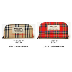 Water Land Spoon Wallet L Red Plaid