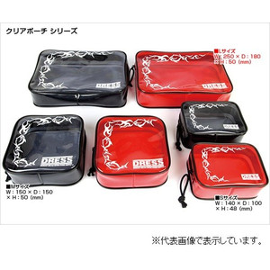 Lilux clear pouch M size red / white